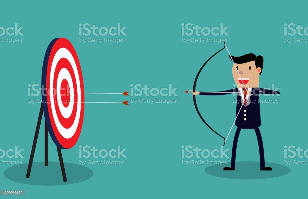 Cartoon businessman with bow and arrow vector art illustration