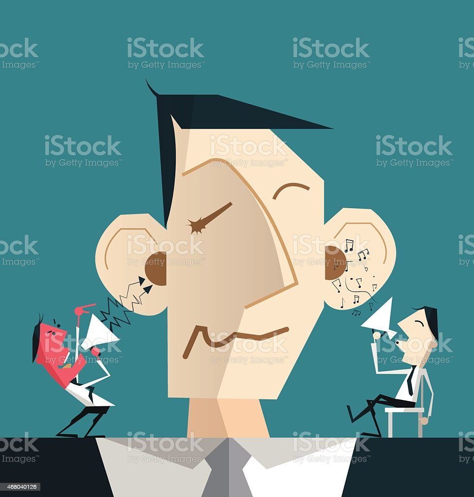 cartoon businessman with devil and angel helping him to decide vector art illustration