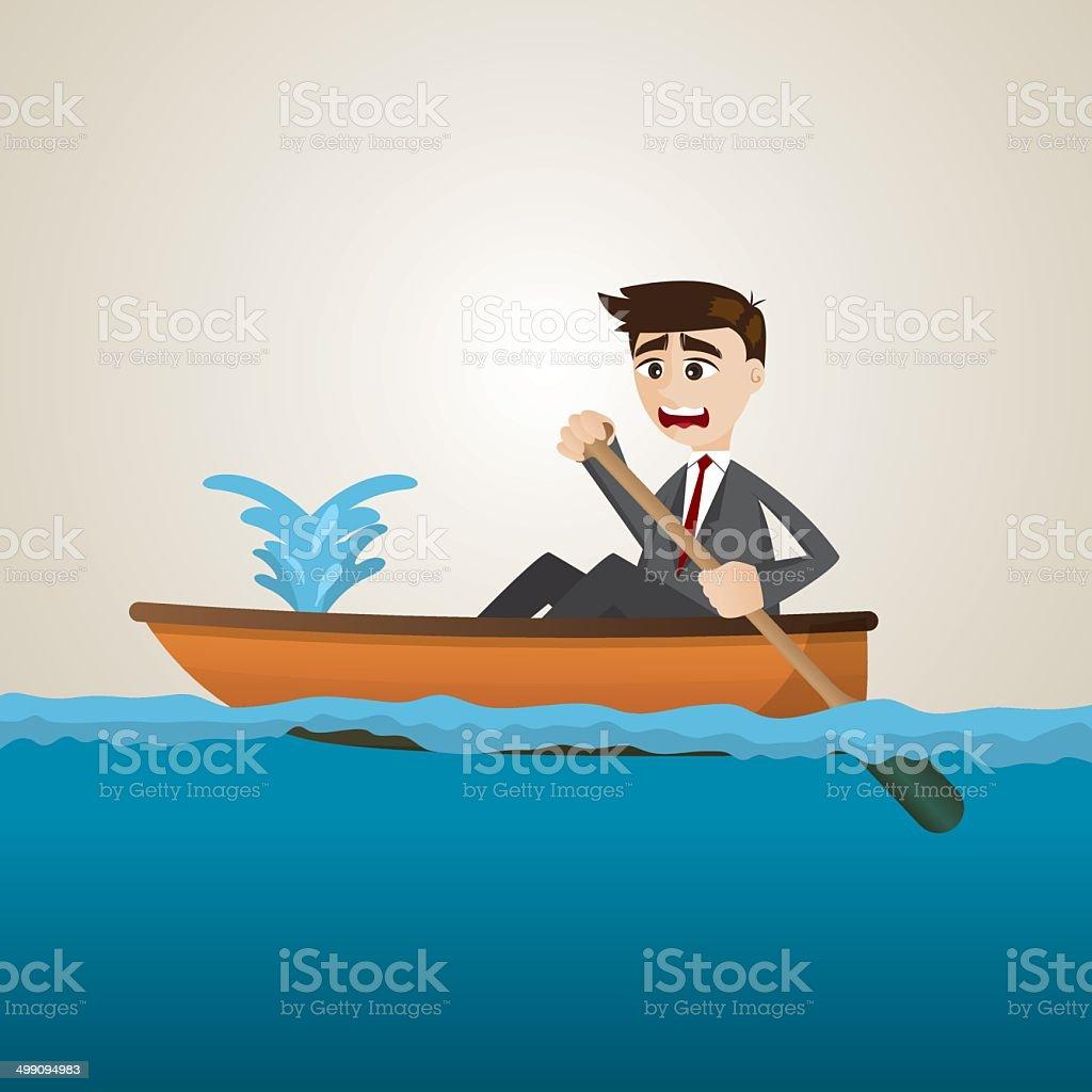 cartoon businessman with leaking boat vector art illustration