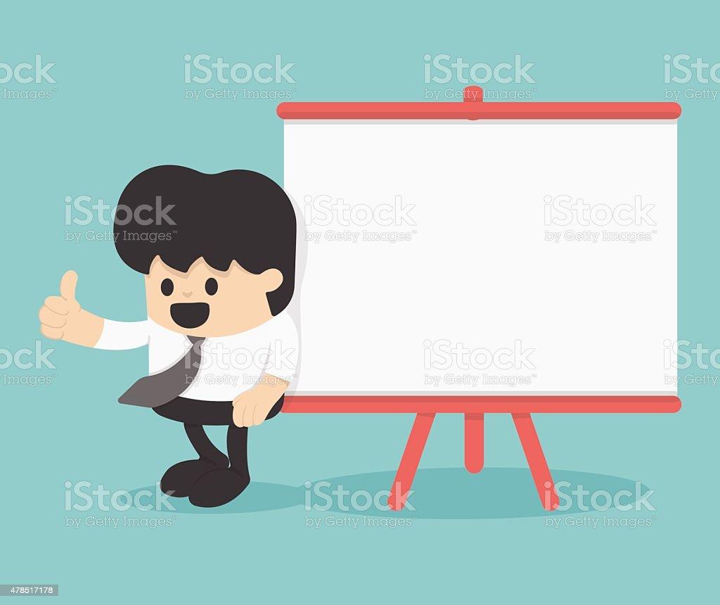 Cartoon Businessman with thumb up leaning against blank billboar vector art illustration