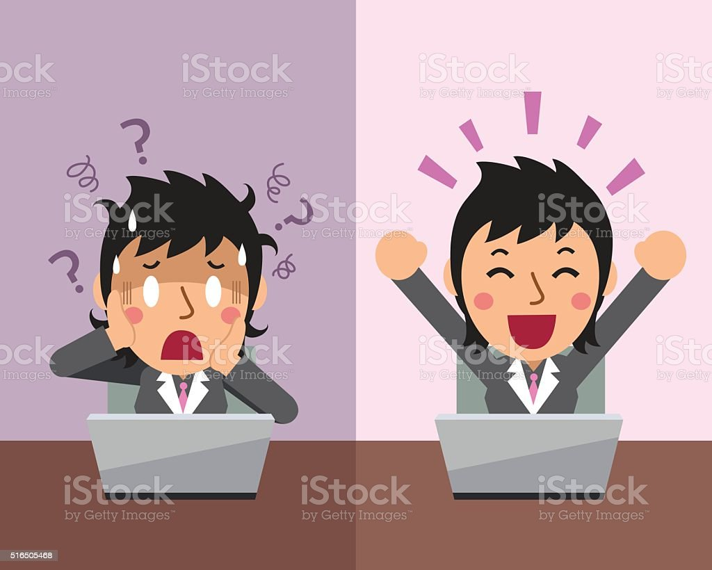 Cartoon businesswoman expressing different emotions vector art illustration