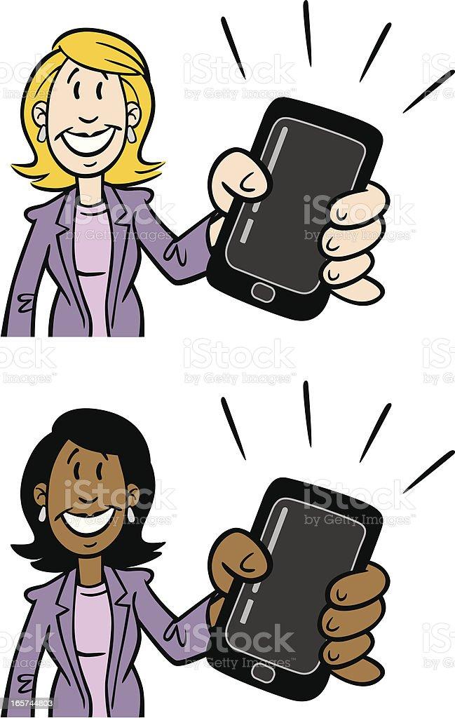 Cartoon Businesswoman Holding Phone Device vector art illustration