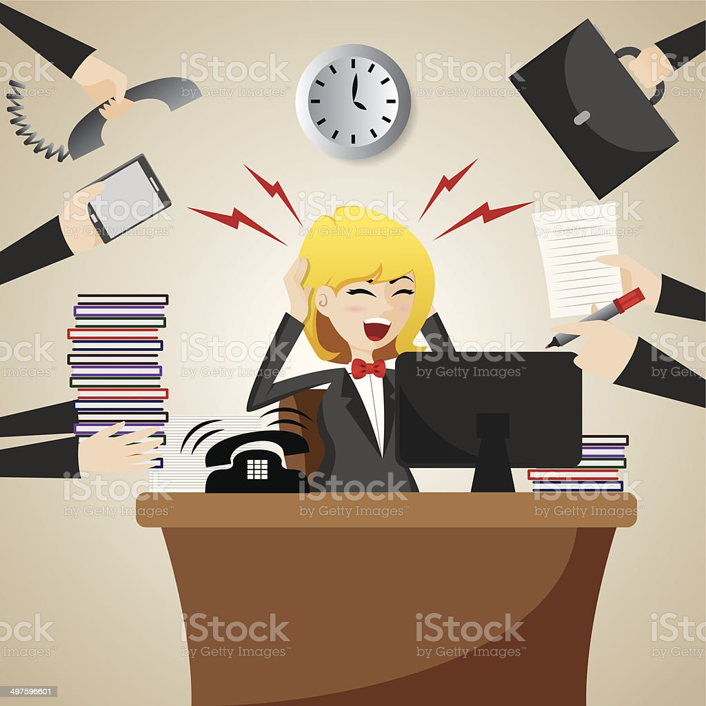 cartoon businesswoman with many workload vector art illustration