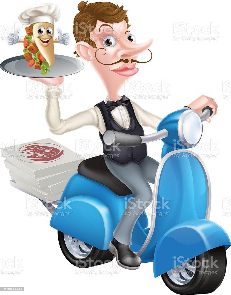 Cartoon Butler on Scooter Moped Delivering Souvlaki vector art illustration