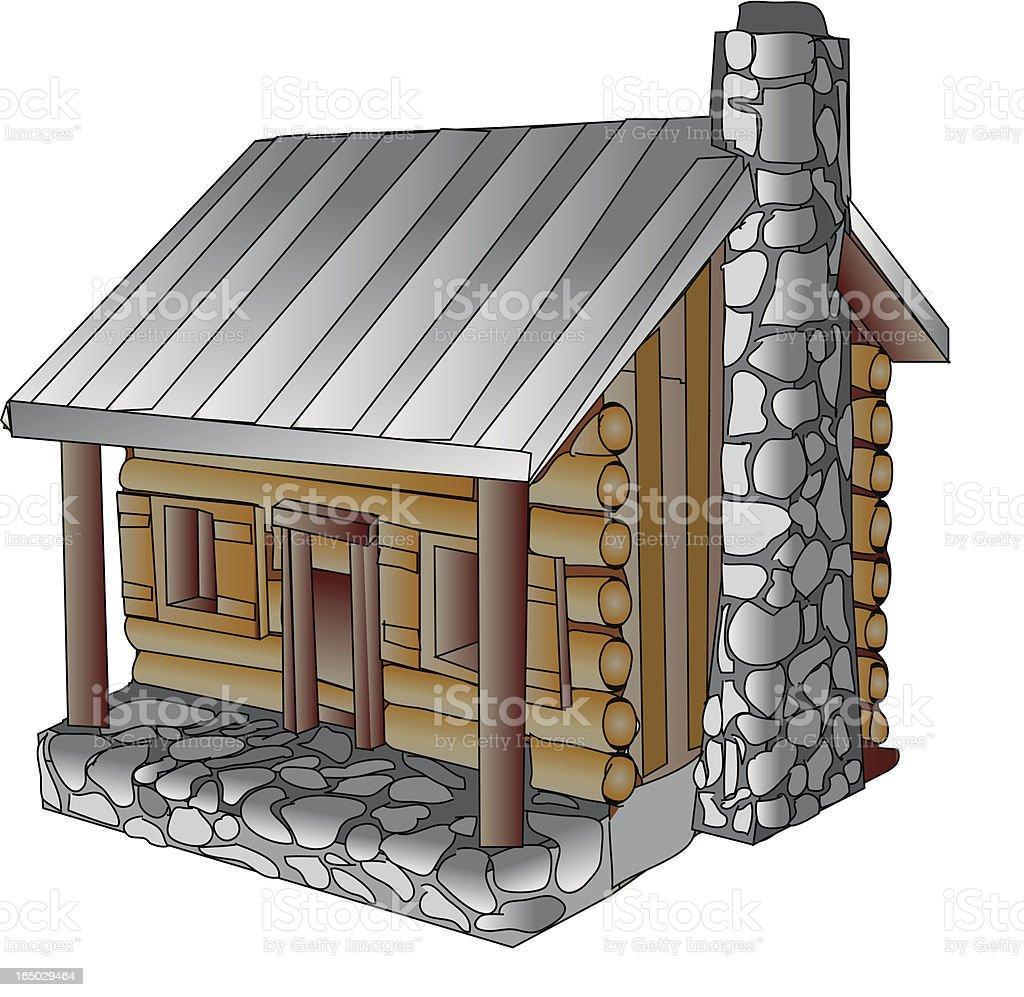 Cartoon cabin - vector royalty-free stock vector art