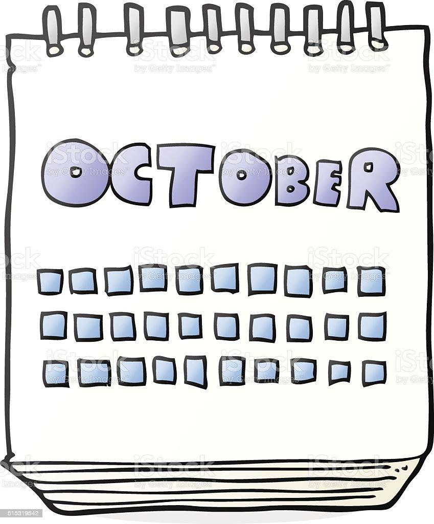 Cartoon Calendar Showing Month Of October stock vector art ...