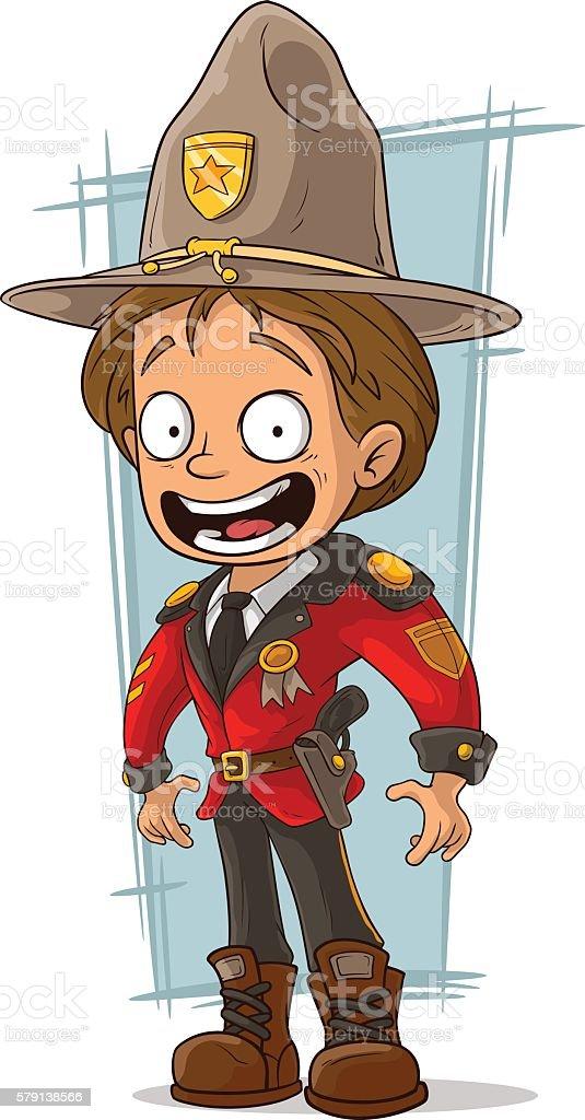Cartoon canadian ranger in red uniform vector art illustration