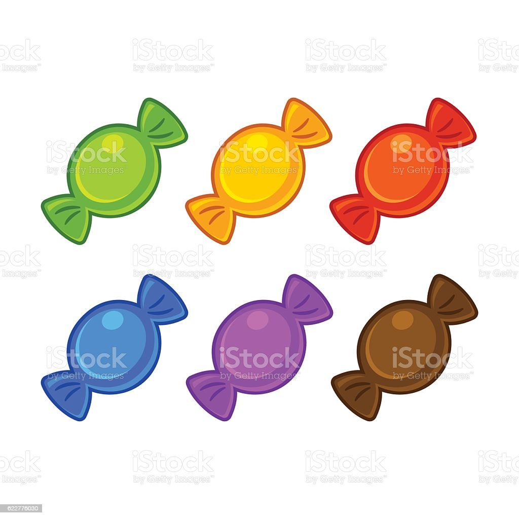 Cartoon candy set vector art illustration
