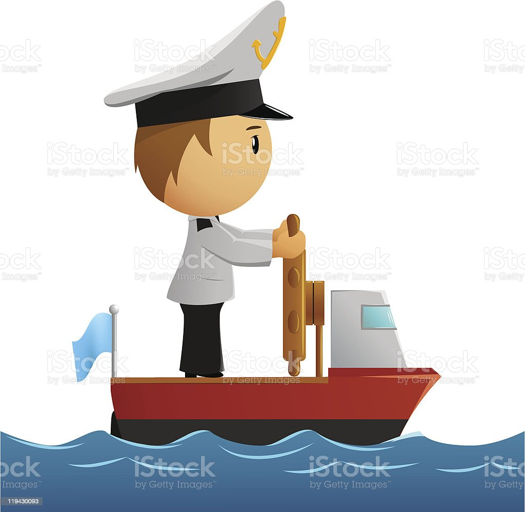Sailor stock photos illustrations and vector art - Cartoon Captain Sailor In Uniform On The Ship Royalty Free Stock Vector Art