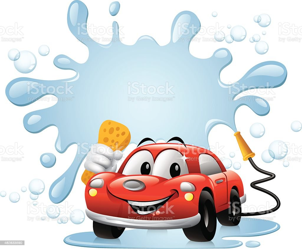 Cartoon Car - Car Wash vector art illustration