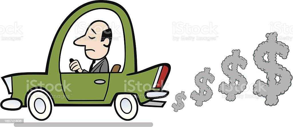 Cartoon Car With Money Smog vector art illustration