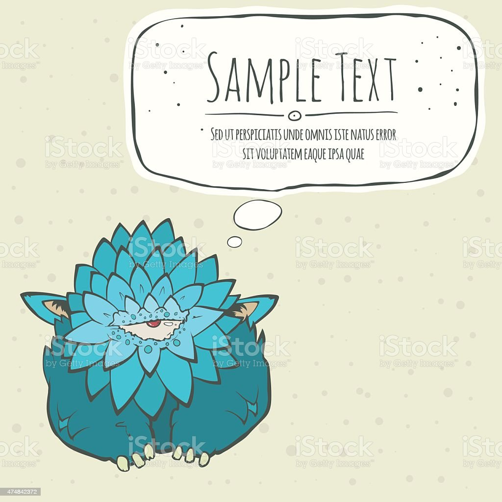 Cartoon card blue thick monster with one eye. Speech bubble vector art illustration