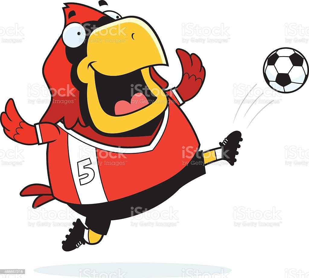 Cartoon Cardinal Soccer Kick vector art illustration