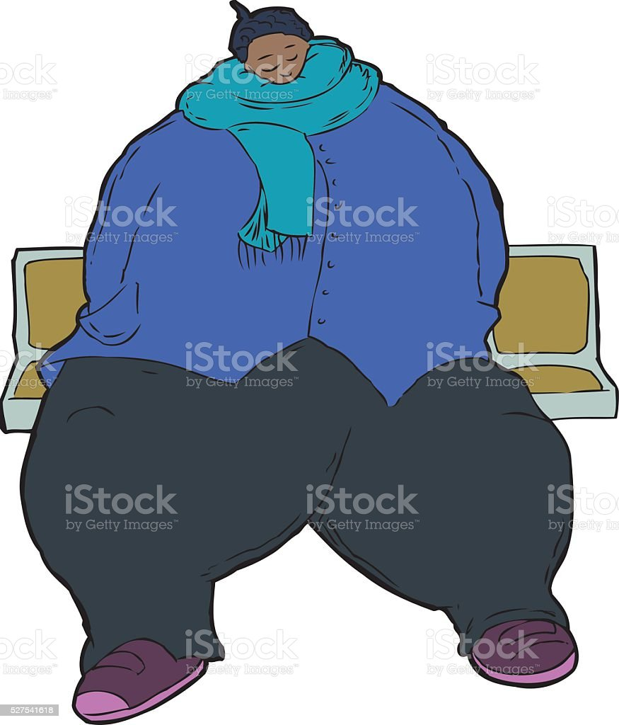 Cartoon caricature of obese woman vector art illustration