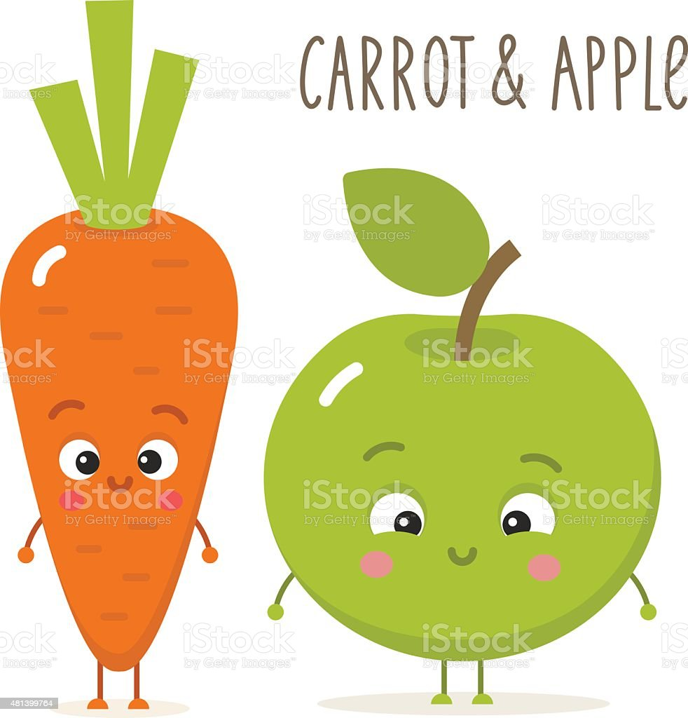 Cartoon carrot and apple with eyes in flat style vector art illustration