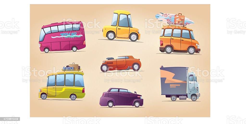 Cartoon Cars Set vector art illustration
