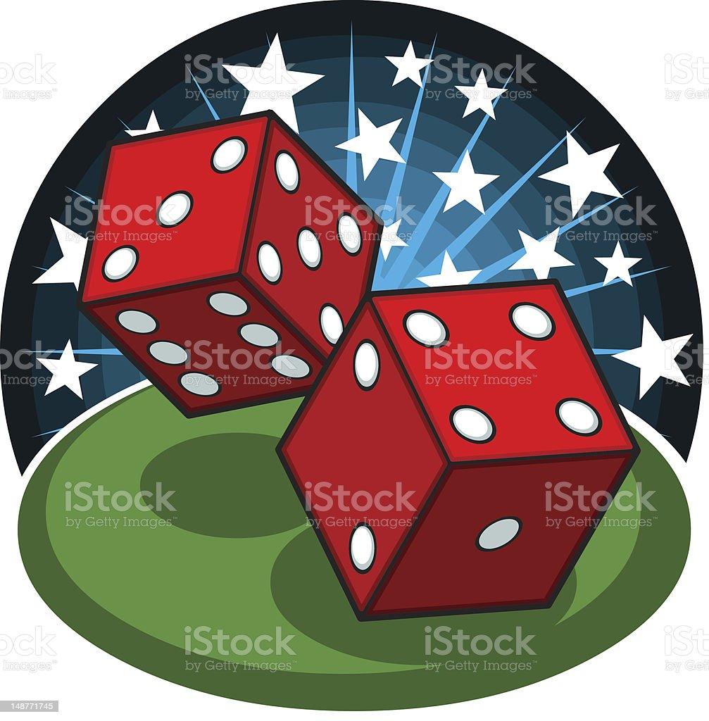 Cartoon Casino Dice vector art illustration