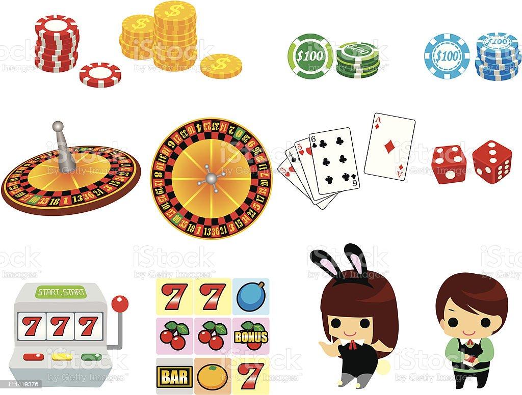 cartoon casino icon set royalty-free stock vector art