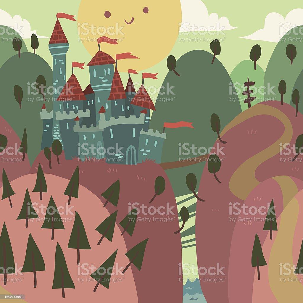 Cartoon Castle on a Hill royalty-free stock vector art