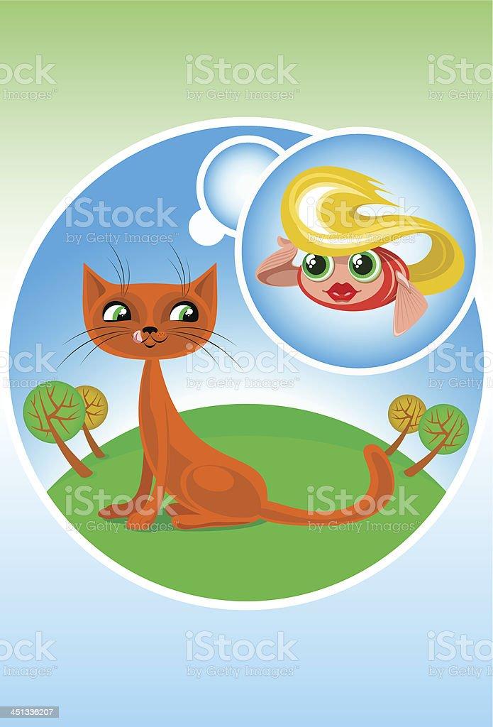 Cartoon Cat and Fish royalty-free stock vector art