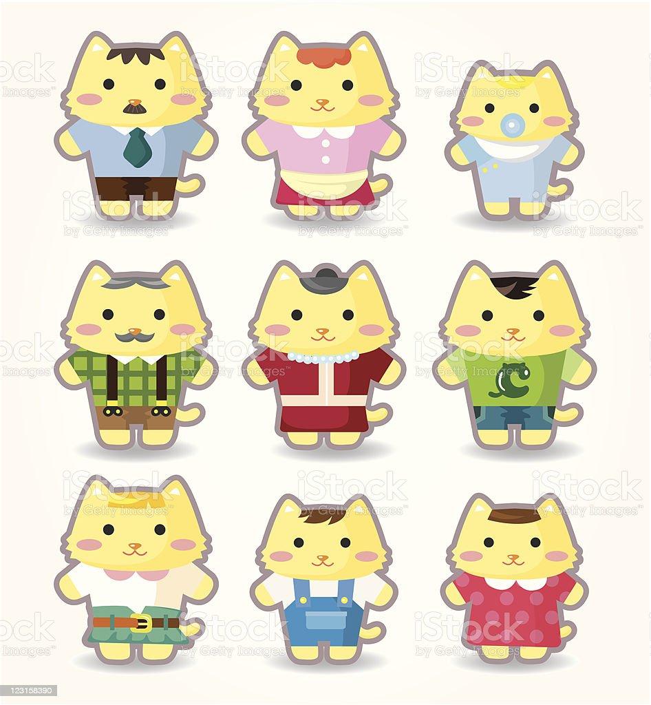 cartoon cat family icons royalty-free stock vector art