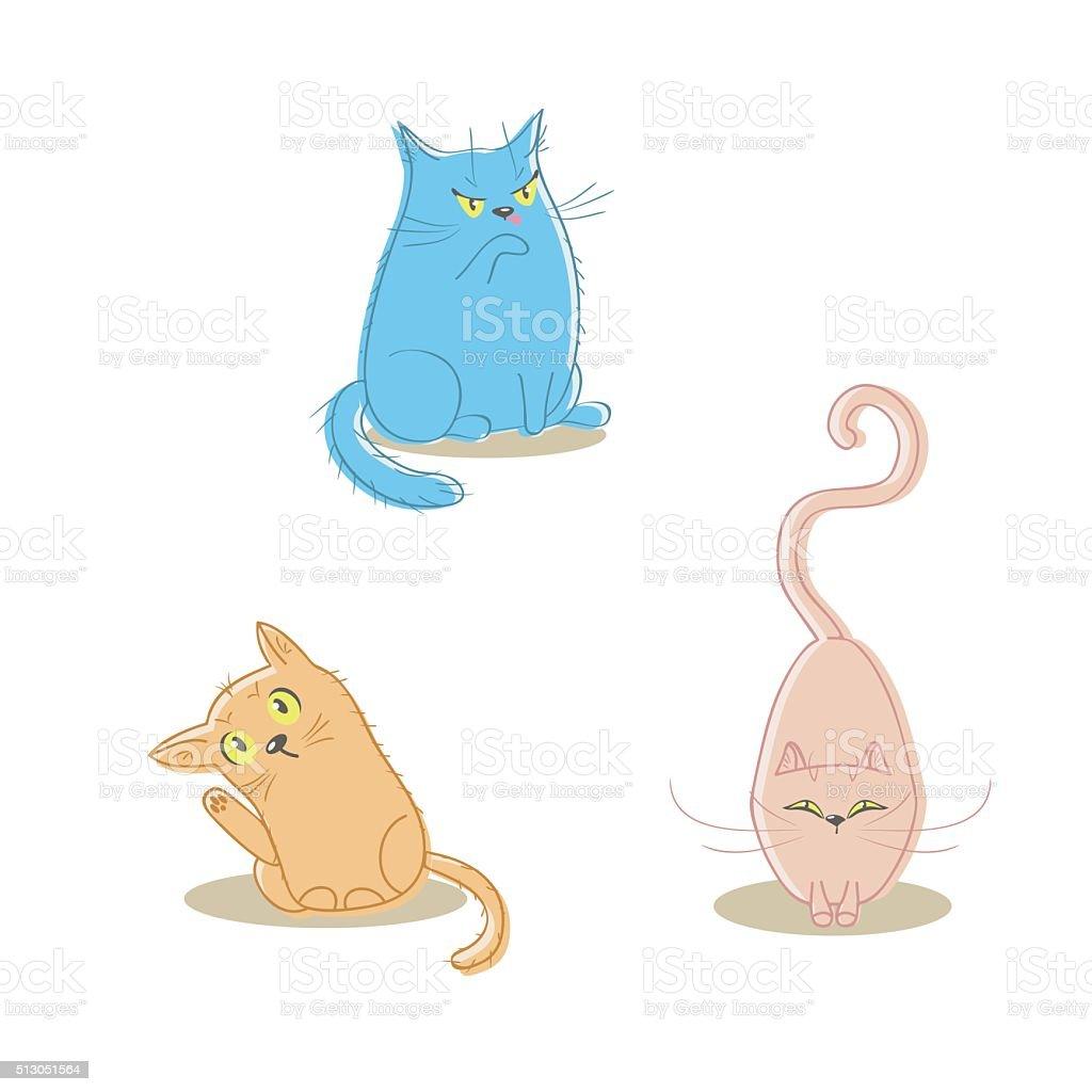 Cartoon cat set vector art illustration