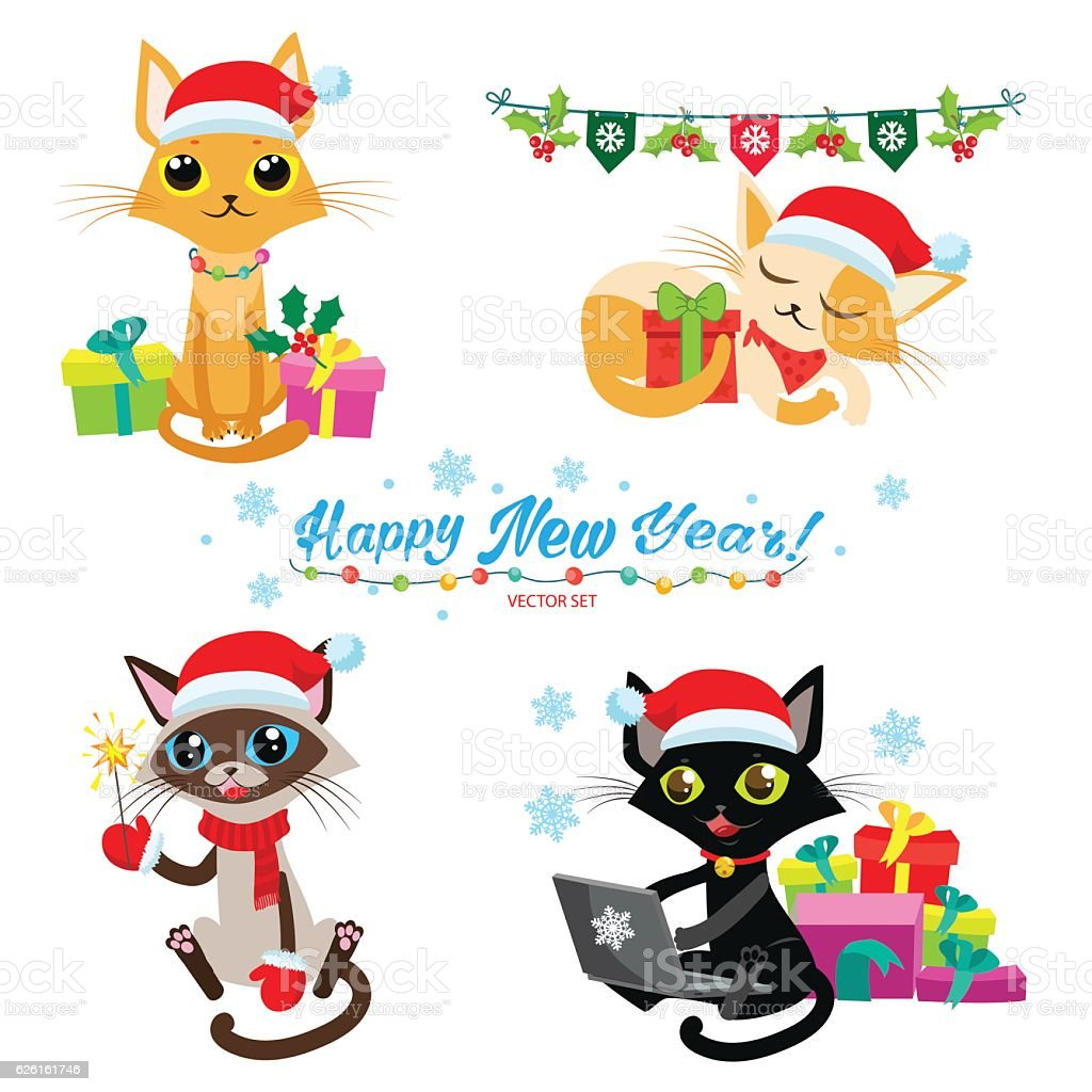 Cartoon Cats With Holiday Gifts. Cat Christmas Game. vector art illustration