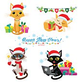 Cartoon Cats With Holiday Gifts. Cat Christmas Game.