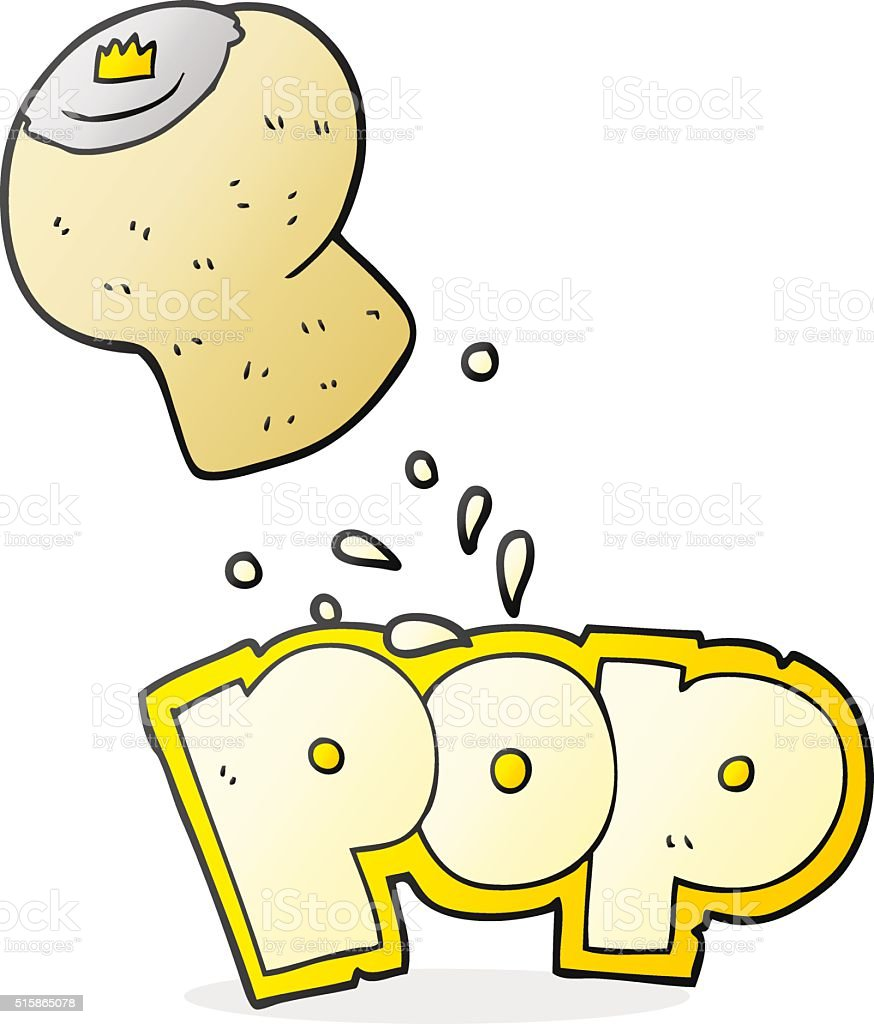 cartoon champagne cork popping vector art illustration