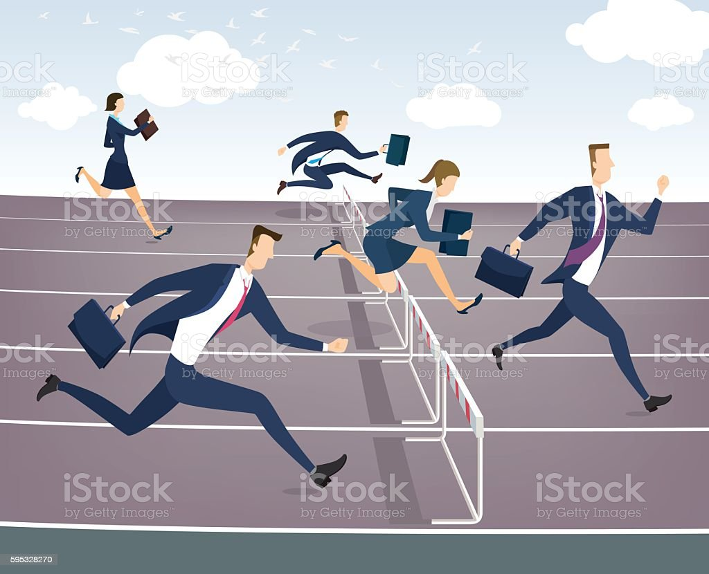 Cartoon character, Businessman and businesswoman jumping over hurdles vector art illustration