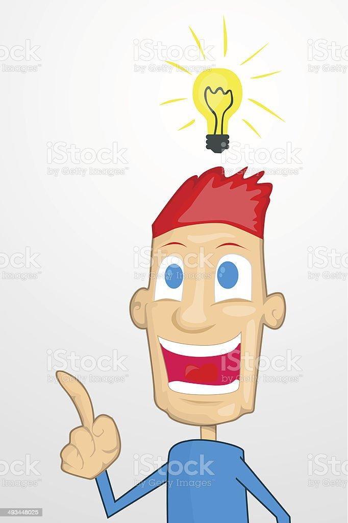 Personnage de dessin animé avec une idée qui stock vecteur libres de droits libre de droits