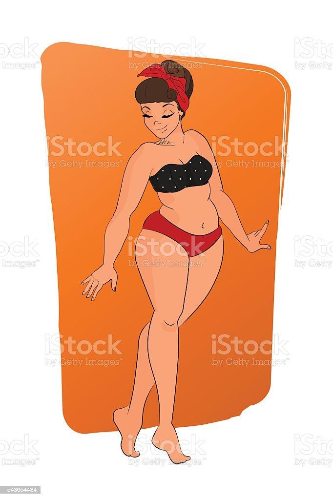 cartoon character. cute girl wearing bikini. pin up style. retro vector art illustration