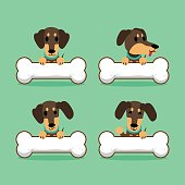 Cartoon character dachshund dog with big bones