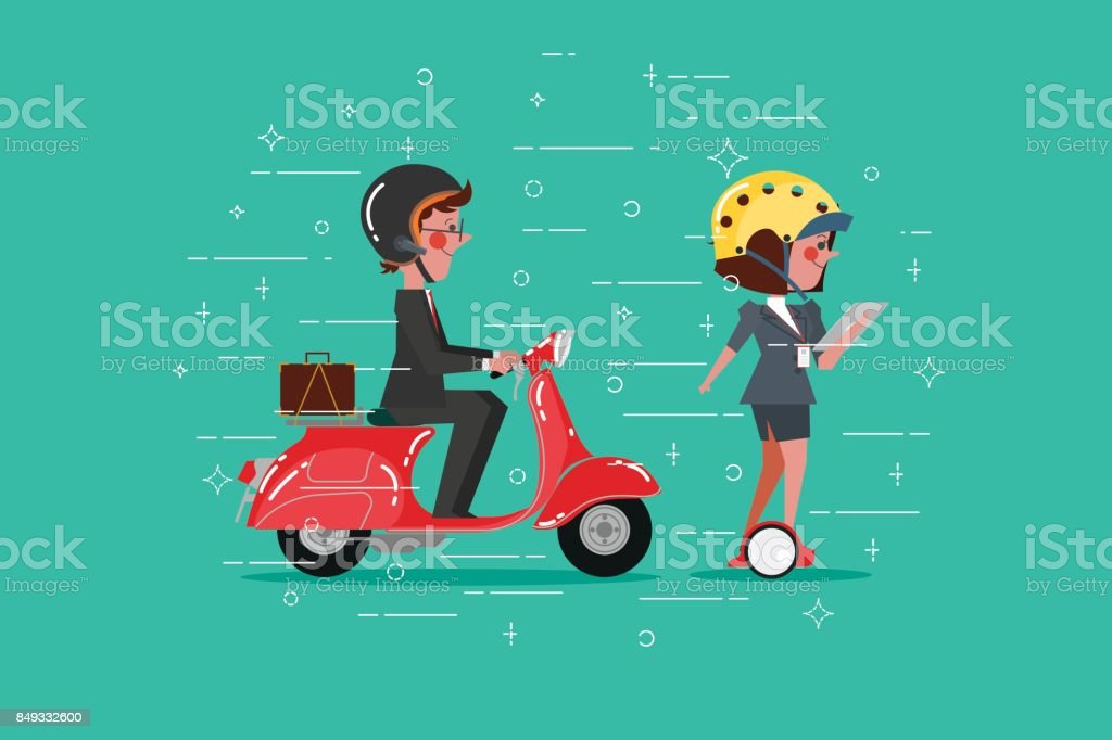 Cartoon Character design flat style. Smart Businessman riding a scooter Businesswoman on the Segway vector art illustration
