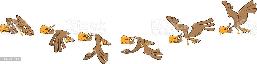 Cartoon Character Eagle for Computer Game Storyboard vector art illustration