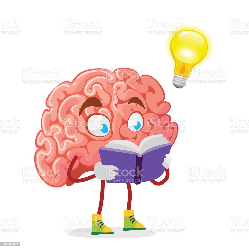 personaje de dibujos animados mascota del cerebro sobre un brain vector art brain vector free download