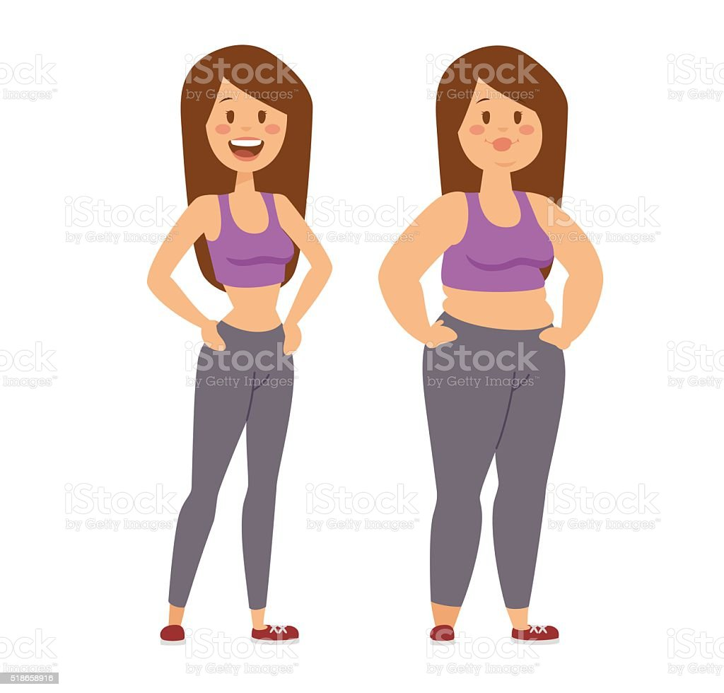 Cartoon character of fat woman and girl sitting vector art illustration