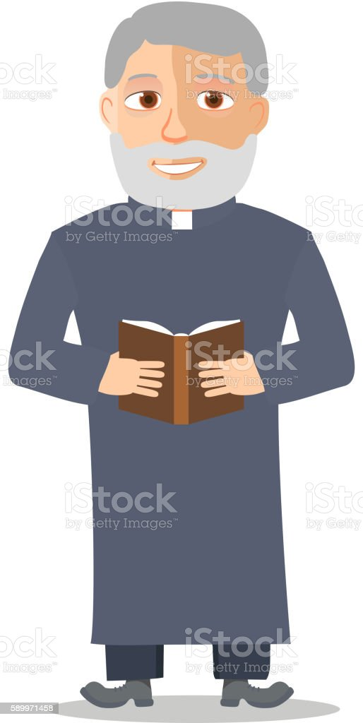 Cartoon Character Old man like a priest. Vector vector art illustration