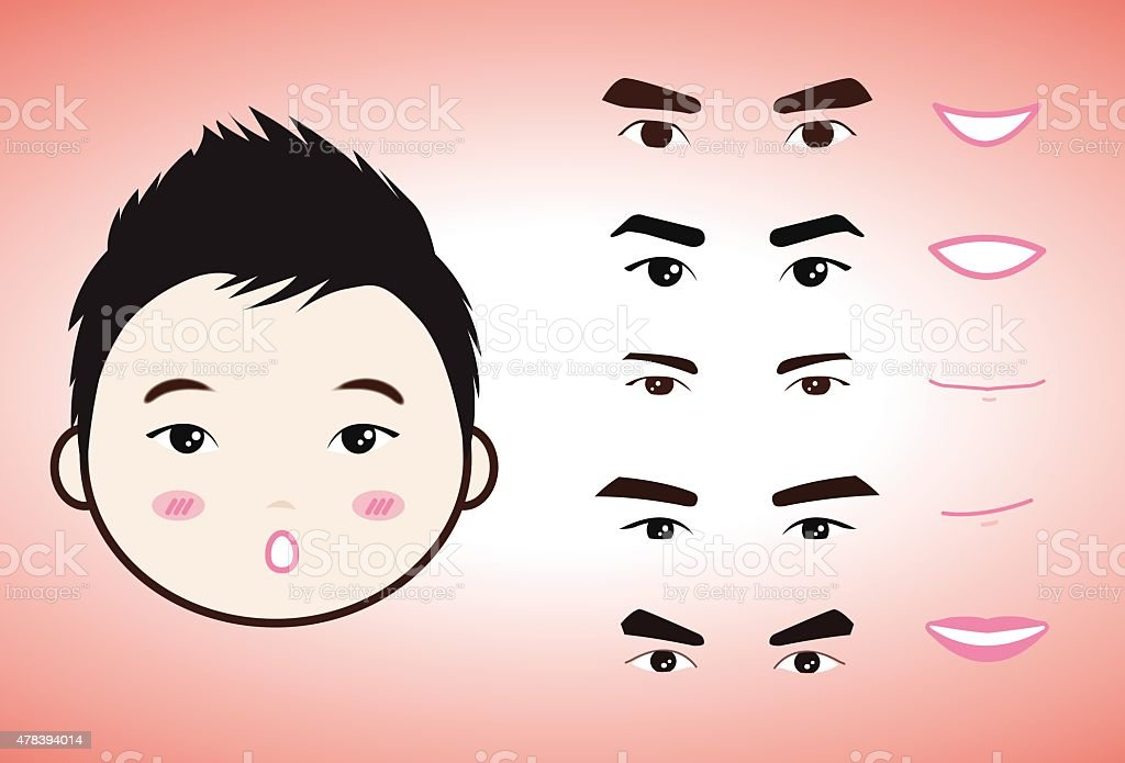 Kreskówka zestaw znaków twarzy emocje stockowa ilustracja wektorowa royalty-free