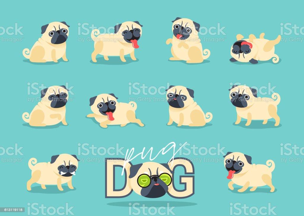 Cartoon character pug dog poses. vector art illustration
