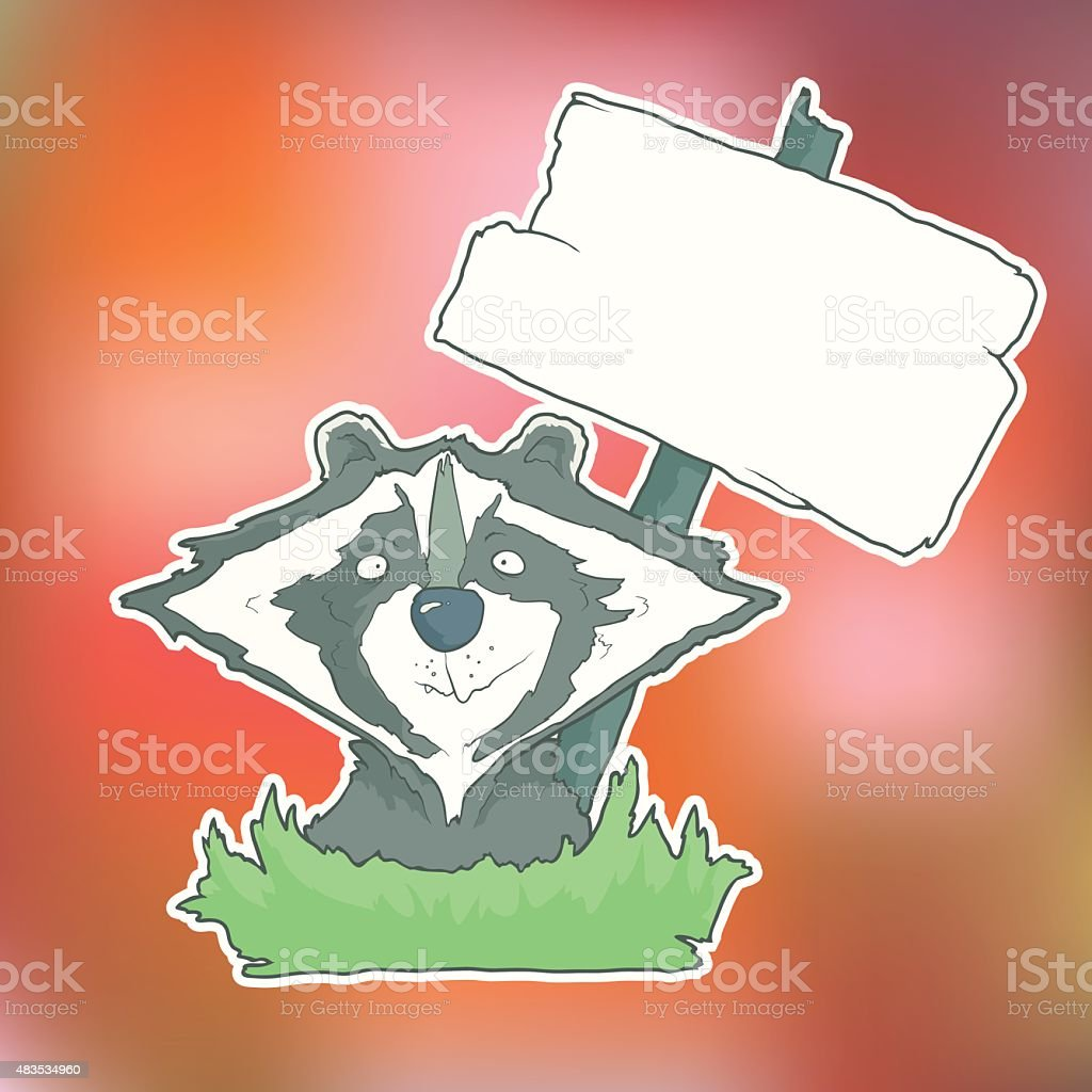 Cartoon Character Racoon with wooden poster Isolated on Color Blurred vector art illustration
