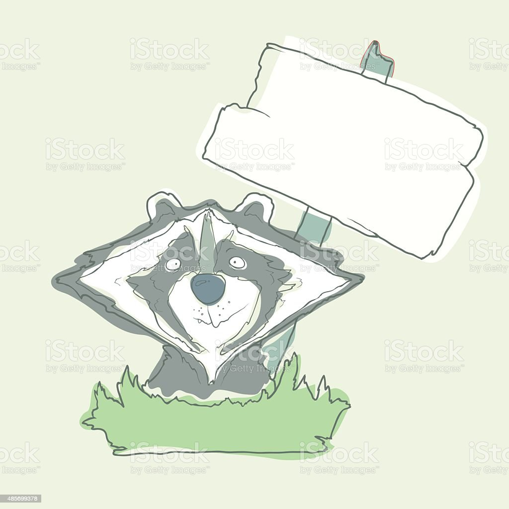 Cartoon Character Racoon with wooden poster Isolated on White Background vector art illustration