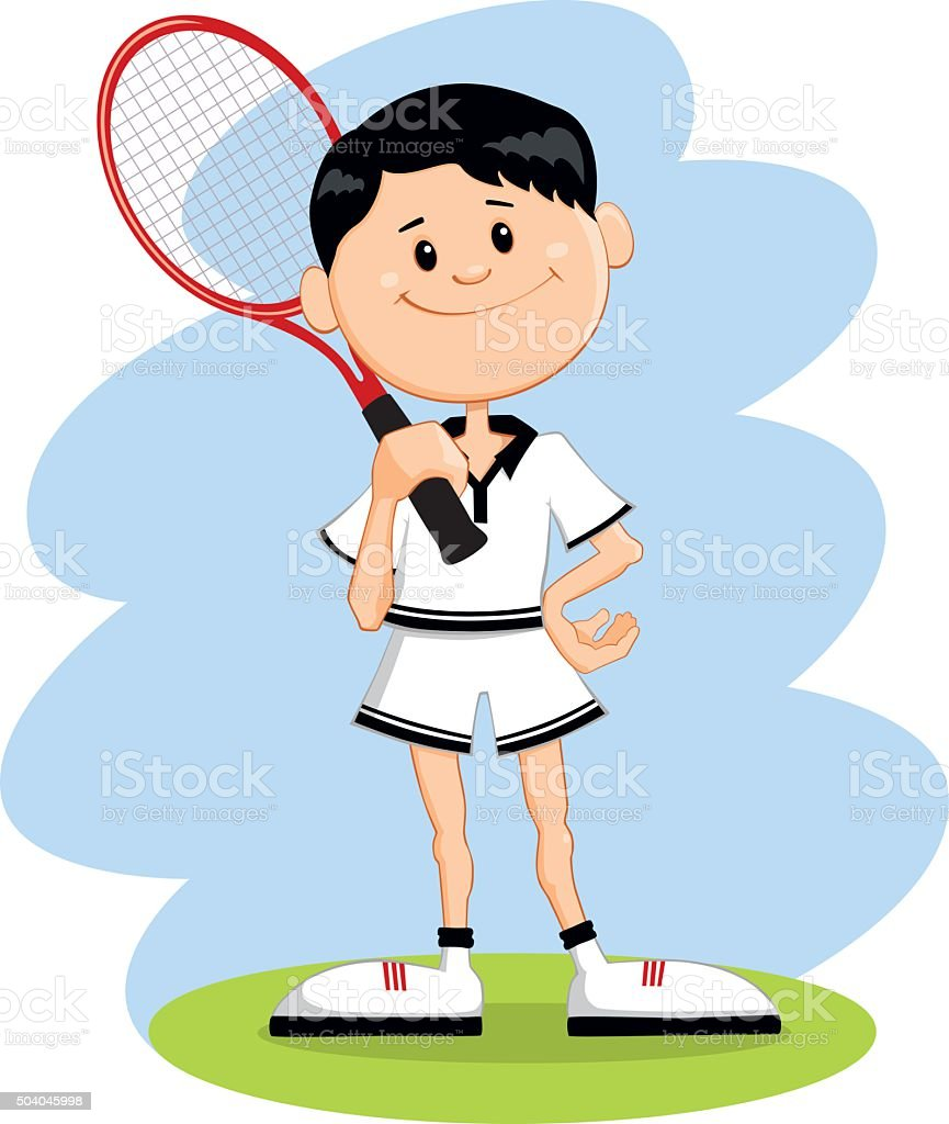 Cartoon character tennis player vector art illustration