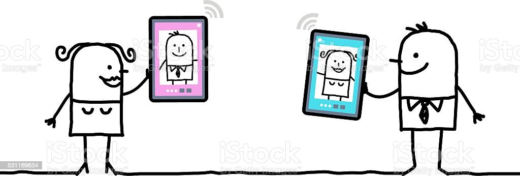 cartoon character with tablet - meeting vector art illustration