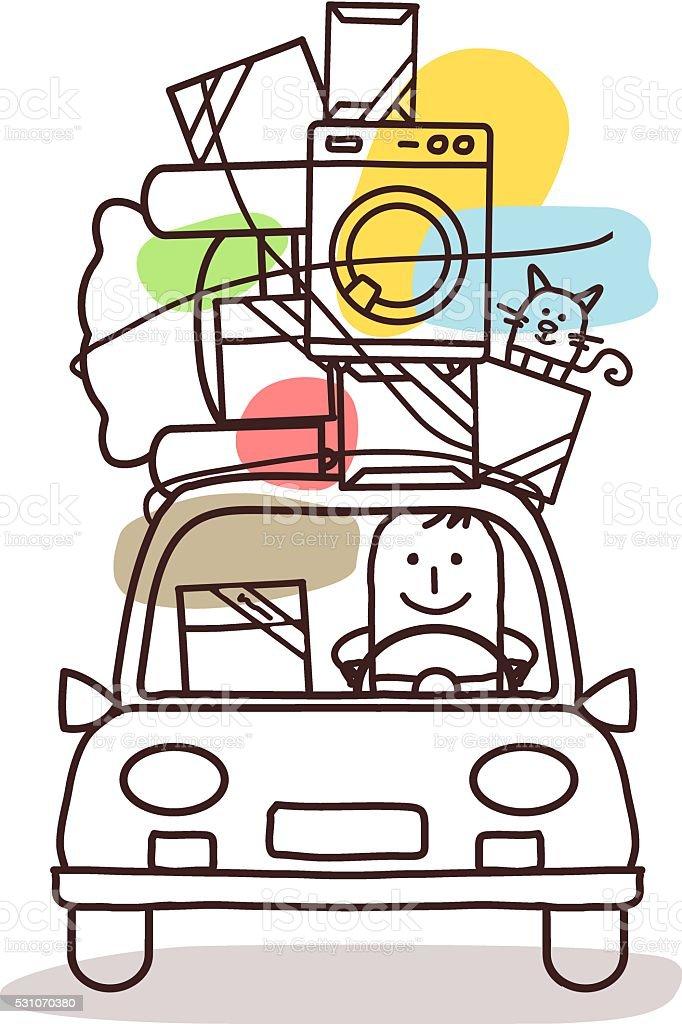 cartoon characters and car - move vector art illustration