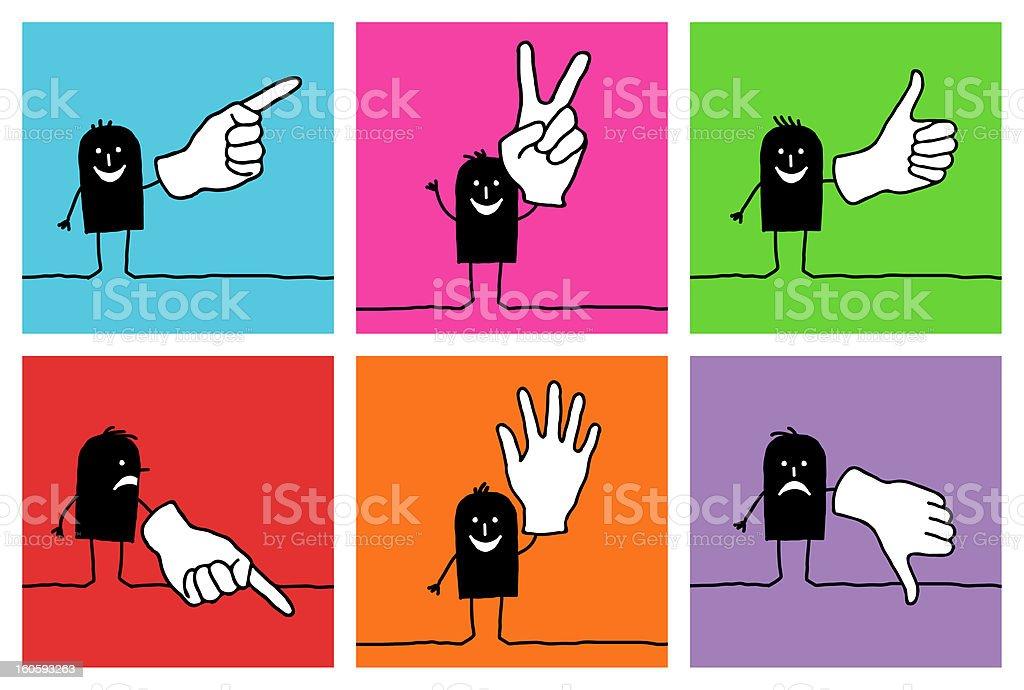6 cartoon characters - hand signs royalty-free stock vector art