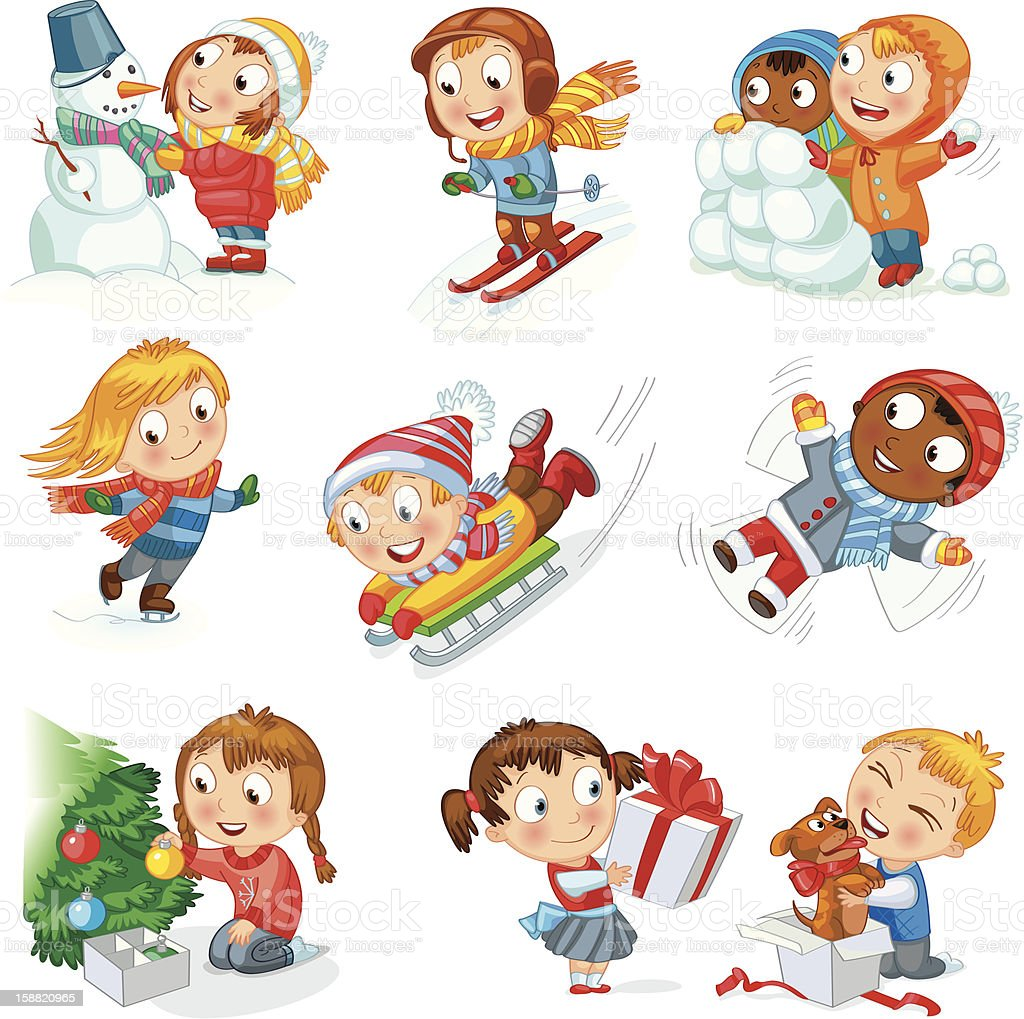 Cartoon characters of children during Christmas fun royalty-free stock vector art