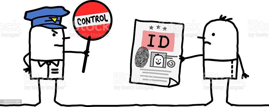 cartoon characters - police control - identity vector art illustration