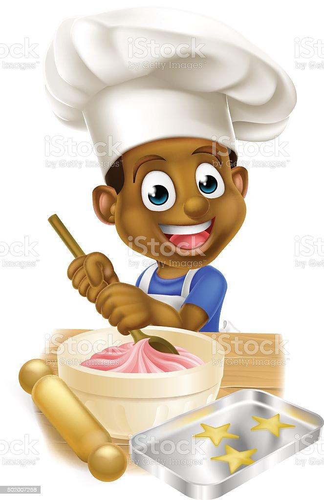 Cartoon Chef Boy vector art illustration