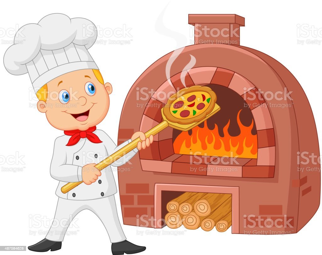 Cartoon chef holding hot pizza with traditional oven vector art illustration